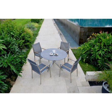 """Zebra Stapelsessel """"One"""", Gestell Edelstahl, Teakarmlehnen, Sitzfläche Textilgewebe dark grey und Tischgestell Mikado mit Tischplatte Sela beton"""