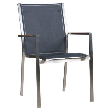 "Zebra Stapelsessel ""One"", Gestell Edelstahl, Teakarmlehnen, Sitzfläche Textilgewebe carbon grey"
