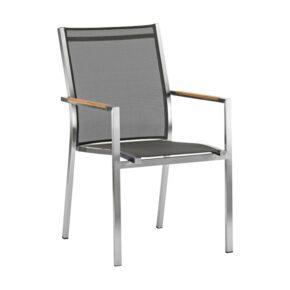 "Zebra Stapelsessel ""One"", Gestell Edelstahl, Teakarmlehnen, Sitzfläche Textilgewebe dark grey"
