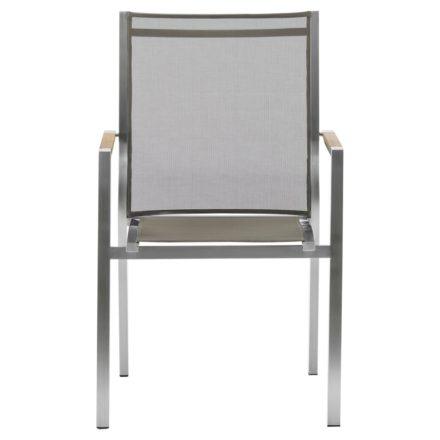 "Zebra Stapelsessel ""One"", Gestell Edelstahl, Teakarmlehnen, Sitzfläche Textilgewebe taupe"