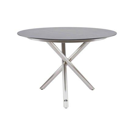 """Zebra """"Mikado"""" Tischgestell Edelstahl Rundrohr mit Tischplatte SELA HPL beton dunkel"""