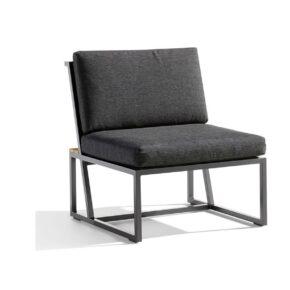 """Mittelteil """"Havanna"""" von Sieger, Gestell Aluminium eisengrau, Sitzfläche Textilgewebe grau, Kissen 100% Polypropylen, Teakholz-Applikation"""