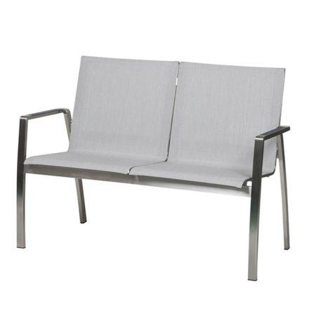 """2-Sitzer Gartenbank """"Ancona"""" von Diamond Garden, Gestell Edelstahl, Bezug Batyline®-Eden Textilenegewebe hellgrau"""