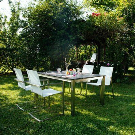 """Diamond Garden """"Ancona"""" Stapelstuhl und Swingstuhl in hellgrau mit Tisch """"San Marino"""", Tischplatte schiefer"""