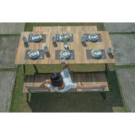 """Zebra Gartentisch """"Linax"""" und Gartenbank """"Linax"""" mit Rückenlehne Batyline® espresso, Gestell Edelstahl, Tischplatte und Sitzfläche recyceltes Teakholz"""