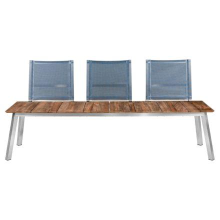 """Zebra """"Linax"""" Gartenbank, Gestell Edelstahl, Sitzfläche recyceltes Teakholz mit Rückenlehne Batyline® anthrazit"""