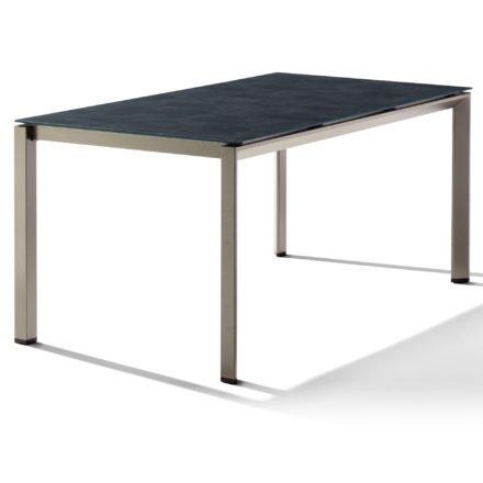 Sieger Tischsystem, Gestell Aluminium champagner, Tischplatte HPL (Polytec) Beton dunkel, 160x90 cm