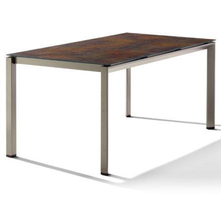 Sieger Tischsystem, Gestell Aluminium champagner, Tischplatte HPL (Polytec) Bronze, 160x90 cm