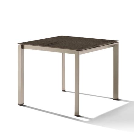 Sieger Gartentisch Gestell Aluminium champagner, Tischplatte HPL (Polytec) Granit