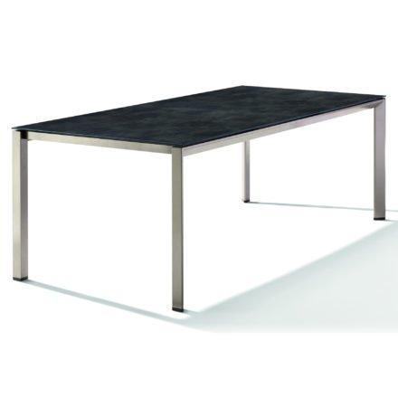 Sieger Tischsystem, Gestell Aluminium champagner, Tischplatte HPL (Polytec) Beton dunkel, 220x100 cm