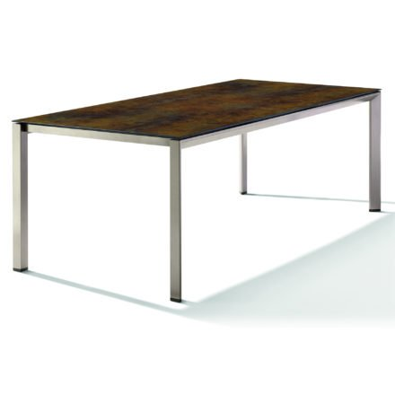 Sieger Tischsystem, Gestell Aluminium champagner, Tischplatte HPL (Polytec) Bronze, 220x100 cm