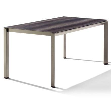 Sieger Tischsystem, Gestell Aluminium champagner, Tischplatte HPL (Polytec) Eiche dunkel, 160x90 cm