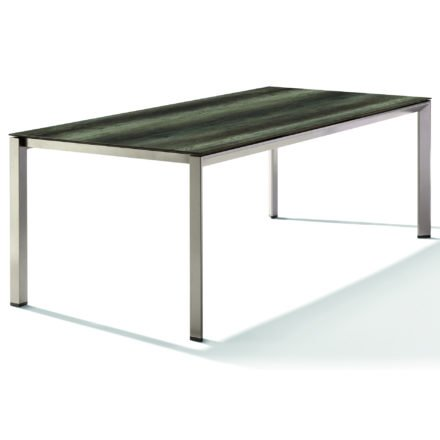 Sieger Tischsystem, Gestell Aluminium champagner, Tischplatte HPL (Polytec) Eiche dunkel, 220x100 cm