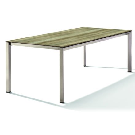 Sieger Tischsystem, Gestell Aluminium champagner, Tischplatte HPL (Polytec) Eiche hell, 220x100 cm