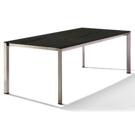 Sieger Tischsystem, Gestell Aluminium champagner, Tischplatte HPL (Polytec) Granit, 220x100 cm