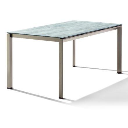 Sieger Tischsystem, Gestell Aluminium champagner, Tischplatte HPL (Polytec) Moon, 160x90 cm