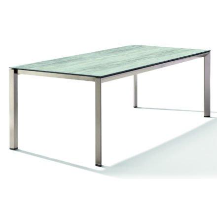 Sieger Tischsystem, Gestell Aluminium champagner, Tischplatte HPL (Polytec) Moon, 220x100 cm