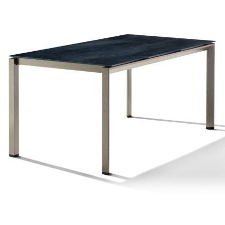 Sieger Tischsystem, Gestell Aluminium champagner, Tischplatte HPL (Polytec) Zement anthrazit, 160x90 cm