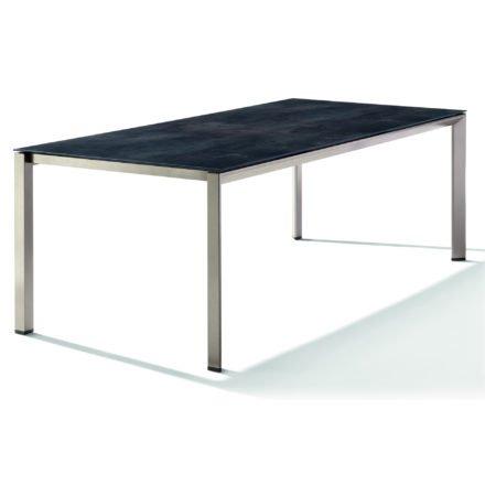 Sieger Tischsystem, Gestell Aluminium champagner, Tischplatte HPL (Polytec) Zement anthrazit, 220x100 cm