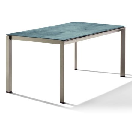 Sieger Tischsystem, Gestell Aluminium champagner, Tischplatte HPL (Polytec) Zement graphit, 160x90 cm