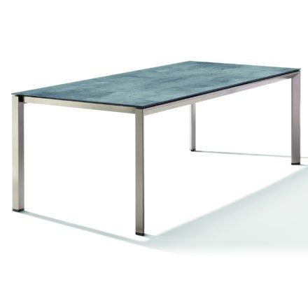 Sieger Tischsystem, Gestell Aluminium champagner, Tischplatte HPL (Polytec) Zement graphit, 220x100 cm