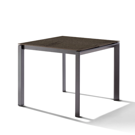 Sieger Gartentisch Gestell Aluminium eisengrau, Tischplatte HPL (Polytec) Granit