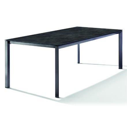 Sieger Tischsystem, Gestell Aluminium eisengrau, Tischplatte HPL (Polytec) Beton dunkel, 220x100 cm