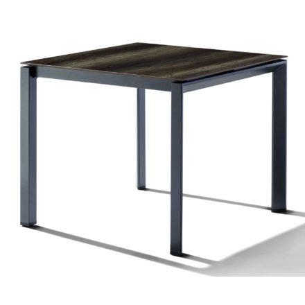 Sieger Tischsystem, Gestell Aluminium eisengrau, Tischplatte HPL (Polytec) Eiche dunkel, 90x90 cm