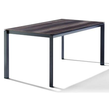 Sieger Tischsystem, Gestell Aluminium eisengrau, Tischplatte HPL (Polytec) Eiche dunkel, 160x90 cm