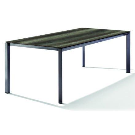 Sieger Tischsystem, Gestell Aluminium eisengrau, Tischplatte HPL (Polytec) Eiche dunkel, 220x100 cm