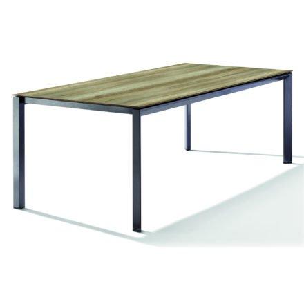 Sieger Tischsystem, Gestell Aluminium eisengrau, Tischplatte HPL (Polytec) Eiche hell, 220x100 cm