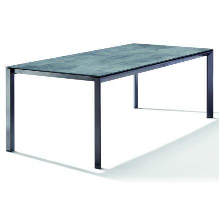 Sieger Tischsystem, Gestell Aluminium eisengrau, Tischplatte HPL (Polytec) Zement graphit, 220x100 cm
