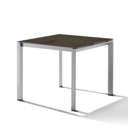 Sieger Gartentisch Gestell Aluminium graphit, Tischplatte HPL (Polytec) Granit