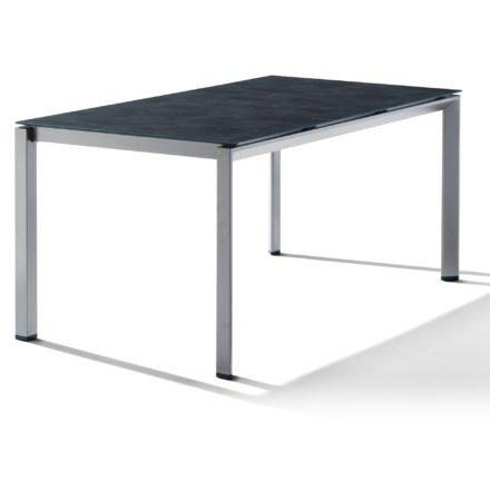 Sieger Tischsystem, Gestell Aluminium graphit, Tischplatte HPL (Polytec) Beton dunkel, 160x90 cm