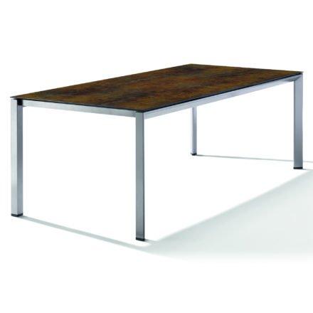 Sieger Tischsystem, Gestell Aluminium graphit, Tischplatte HPL (Polytec) Bronze, 220x100 cm