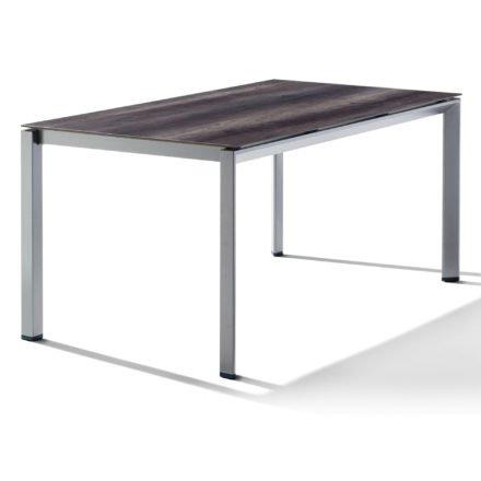 Sieger Tischsystem, Gestell Aluminium graphit, Tischplatte HPL (Polytec) Eiche dunkel, 160x90 cm