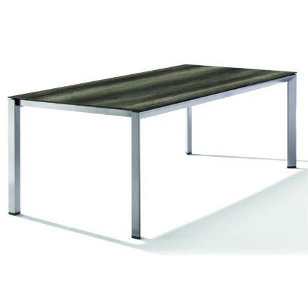 Sieger Tischsystem, Gestell Aluminium graphit, Tischplatte HPL (Polytec) Eiche dunkel, 220x100 cm