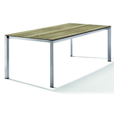 Sieger Tischsystem, Gestell Aluminium graphit, Tischplatte HPL (Polytec) Eiche hell, 220x100 cm