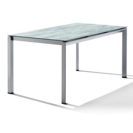 Sieger Tischsystem, Gestell Aluminium graphit, Tischplatte HPL (Polytec) Moon, 160x90 cm