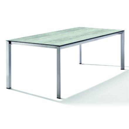 Sieger Tischsystem, Gestell Aluminium graphit, Tischplatte HPL (Polytec) Moon, 220x100 cm