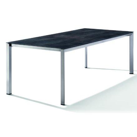 Sieger Tischsystem, Gestell Aluminium graphit, Tischplatte HPL (Polytec) Zement anthrazit, 220x100 cm