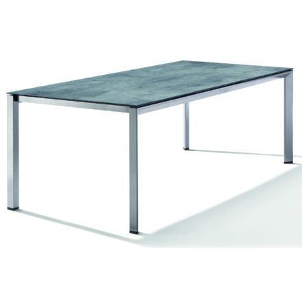 Sieger Tischsystem, Gestell Aluminium graphit, Tischplatte HPL (Polytec) Zement graphit, 220x100 cm