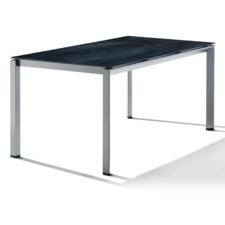 Sieger Tischsystem, Gestell Aluminium graphit, Tischplatte HPL (Polytec) Zement anthrazit, 160x90 cm