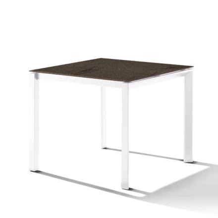 Sieger Gartentisch Gestell Aluminium weiß, Tischplatte HPL (Polytec) Granit