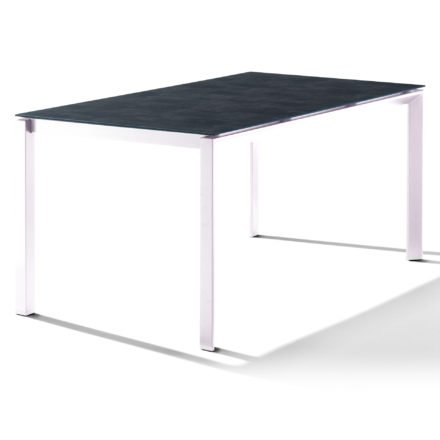 Sieger Tischsystem, Gestell Aluminium weiß, Tischplatte HPL (Polytec) Beton dunkel, 160x90 cm