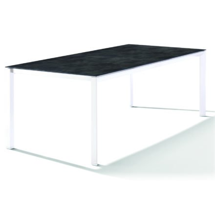 Sieger Tischsystem, Gestell Aluminium weiß, Tischplatte HPL (Polytec) Beton dunkel, 220x100 cm