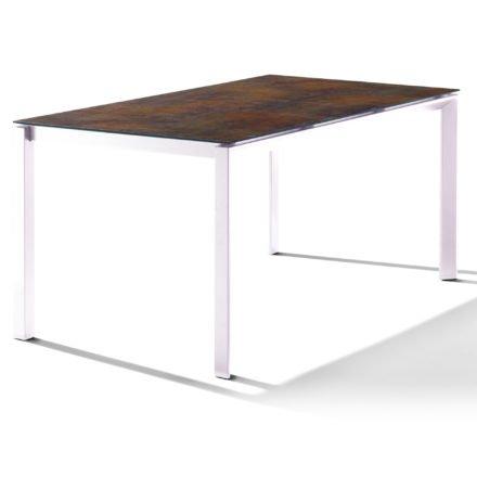 Sieger Tischsystem, Gestell Aluminium weiß, Tischplatte HPL (Polytec) Bronze, 160x90 cm