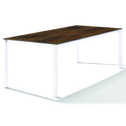 Sieger Tischsystem, Gestell Aluminium weiß, Tischplatte HPL (Polytec) Bronze, 220x100 cm