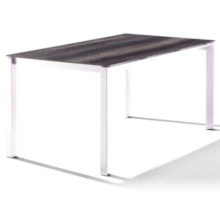 Sieger Tischsystem, Gestell Aluminium weiß, Tischplatte HPL (Polytec) Eiche dunkel, 160x90 cm