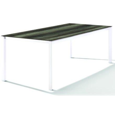 Sieger Tischsystem, Gestell Aluminium weiß, Tischplatte HPL (Polytec) Eiche dunkel, 220x100 cm